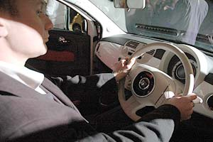 James Bromley in a Fiat 500