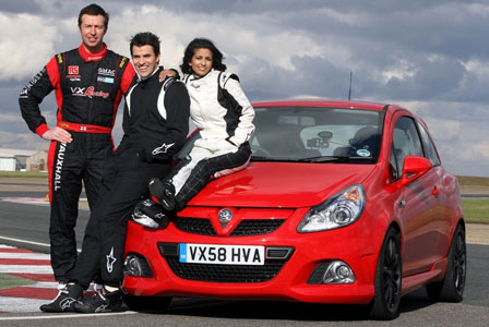 Vauxhall Corsa VXR 888 - complete with race drivers and Konnie Huq