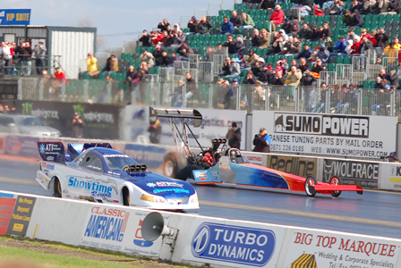 Drag action at Santa Pod