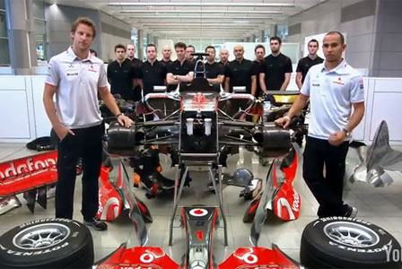 Button and Hamilton build their F1 car