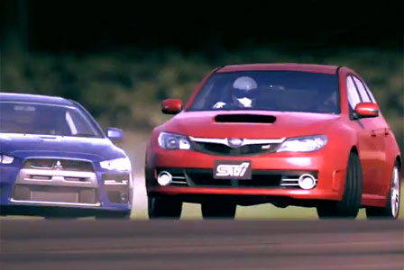 The Stig driving an Impreza in Gran Turismo 5